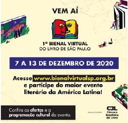 1ª Bienal Virtual do Livro de São Paulo começa segunda, 7